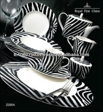 Royal Fine China Dinner Set: Zebra