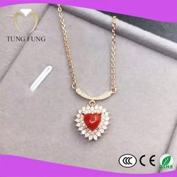 factory promotion price 925 silver natural Coral 7X7mm costume necklace