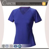 good quality colorful plain v neck wholesale short sleeve women t shirt