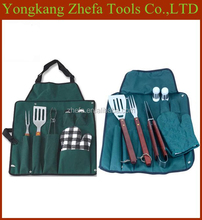 cheap price stainless steel fork tongs wood handle fabric bbq apron tools set