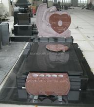 European Style Angel And Heart Granite Headstone
