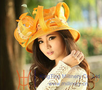 New yellow fashion young ladies sinamay church hats for sale