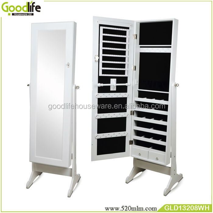 GLD13208Wooden Mirrored Jewelry cabinet