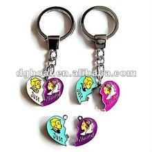 cute design broken heart couple keychain metal