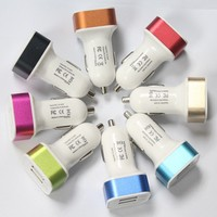 Wholesale Checkout Dual USB Car Charger Adapter for Samsung iphone HTC Smart Phone