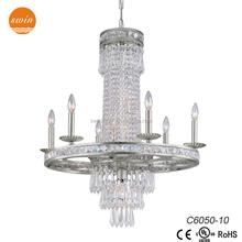 New classic camela 10 light crystal chandelier,old silver pendant lighting C6050-10