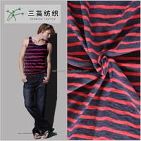 Cotton Cross Striped Jersey Knit Denim Fabric