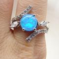 Azul china fuego opal opal joyería anillos de chapado de rodio joyería tamaño 6.7.8.9 dr03010811r-3.3g