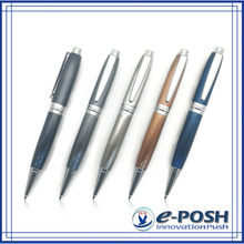 Elegant brushed design style metal twist logo ball pen