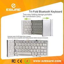 Portable bluetooth tri-fold foldable mini keyboard