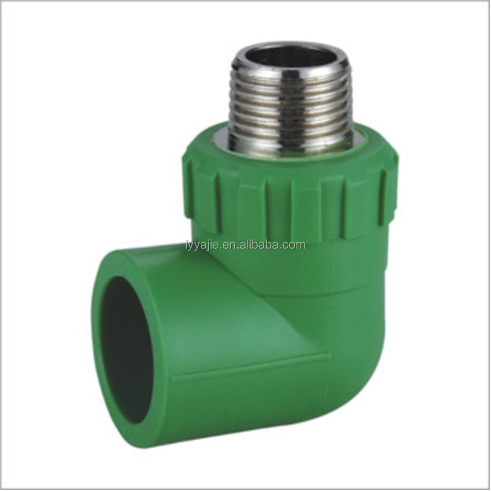 Green ppr water pipe fitting copper male threaded elbow