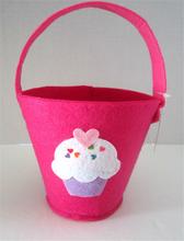 Pink Felt Pail Pink Matching Handle CUPCAKE Design Decor Pails, christmas pail, Brand NEW