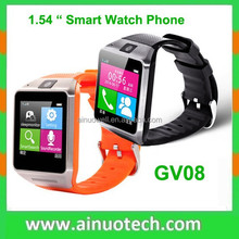 1.54'' capacitive touch screen smart watches stainless steel android gv08 smart watch phone