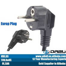 VDE Korea plug right angle electric power plug 2 pin ac power cord plug