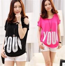 HFR-AN64 2015 summer female T-shirt Korean loose slim off-shoulder tops women's T-shirts