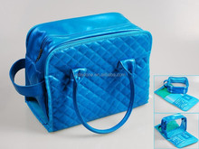 Fashional Blue PU Cosmetic Bag within Removable Inner pouch