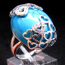 Fashion Rhodium Silver Jewelry Turquoise Stone Ring For Wedding