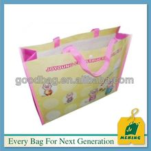 pink printing color pp woven shopping bag in guangzhou