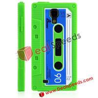 For Samsung i9500 Silicone Cover,Retrospective Cassette Silicone Cellphone Cover Skin for Galaxy S4 I9500 (Green)