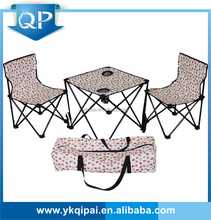 Camping folding table and chair with two cup holders