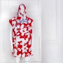 microfiber reactive printing red color customer design adult hooded towels