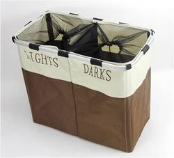 Household Essentials Double Hamper Laundry Sorter, 600D Oxford cloth+aluminium rack