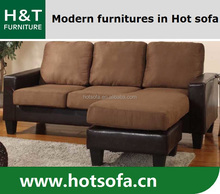 Fabric and leather combination sofas l shape 1 stripped fabric