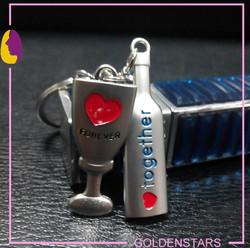 Romantic nice metal Wine glass and bottle shape key holder key chain