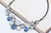 Big statement opal charm necklace with blue glass stone for women(swtaa604)