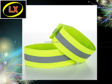 Elastic High Visibility Reflective Fluorescent yellow Safety Armband with velcro closure