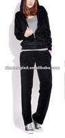 Women's jogging suit black velour track suit