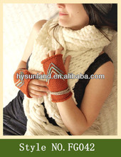Bright Arrow Knit fingerless Mittens fingerless gloves wholesale