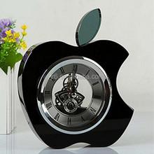 Black apple shaped clock K9 crystal desk top clock