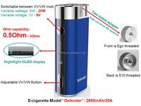 Hot-selling 25W VV VW Mini ecig Box Mod Heatvape Defender
