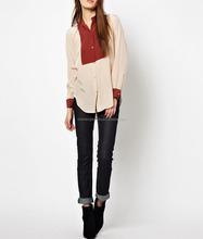 CHEFON Contrast short women formal shirts designs