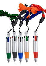 mini flat four ink color cord pen ,4 color carabiner pen with string