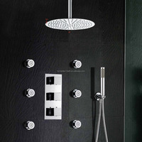 10 '' Ceiling Mount Rainfall Head Hand Wand Body Spray Thermostatic Valve Shower System