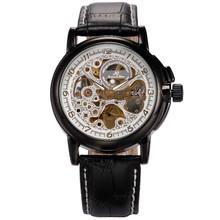 Kronen & Sohne White Skeleton Dial Analog Black Leather Band Men's Fashion Wrist Watch