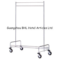 Stainless Steel Clothes Hanging Rack Hospital Laundry Cart Housekeeping Trolley Severing Trolley Movable Coat Rack XL21