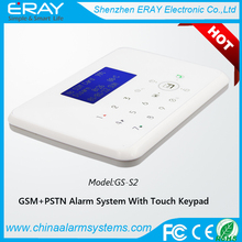 App control touch keypad panel GSM module PSTN wireless home security intruder burglar alarm system