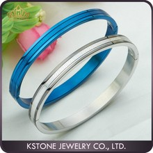 KSTONE New popular design blue oil painting 316l stainless steel couple design bangle gold jewellery bangles