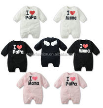 Wholesale Baby Boys Girls 1 Piece romper I Love Mama/papa Long-sleeved Jumpsuit