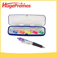 Promotional Customized Plastic Highlighter Ball Pen Set