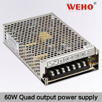 60W quad output series smps led power supply 5V 12V -5V -12V quad dc power supply