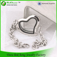 BC jewelry latest fads silver heart locket bracelet