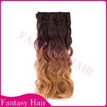 """Hot selling Faster Shipping 20""""8pcs Synthetic Clip In Hair/ombre synthetic hair extension body wave factory directly wholesale"""