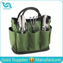 Multi Pocket Garden Tool Bag Heavy Duty Green Polyester Garden Tool Tote Bag