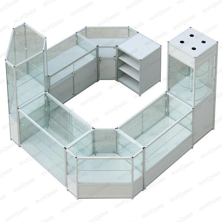 Mostrador de cristal gabinete marco dorado de aluminio estante de ...