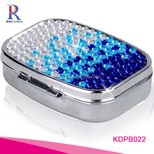 Blue Crystal Mirror Pill Box Gift Set