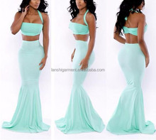 Wholesale Sexy Women Formal Sleeveless Long Prom Ball Cocktail Party Two Piece Gown Dress OEM